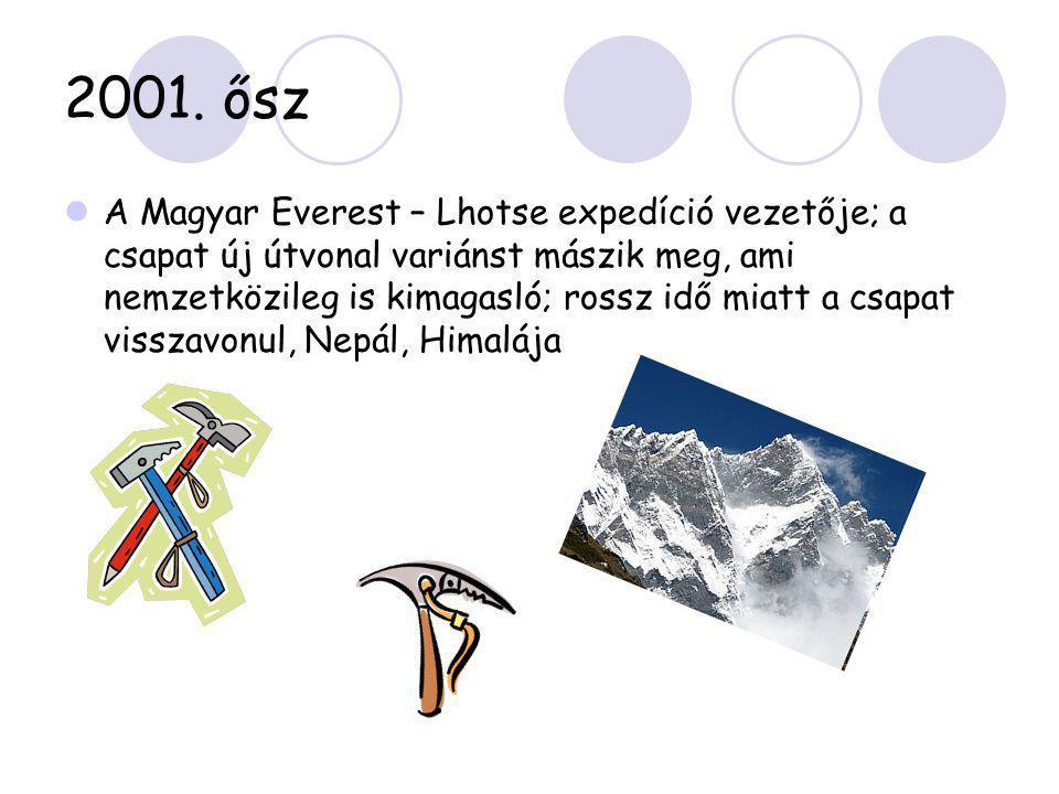 2001. ősz  A Magyar Everest – Lhotse expedíció vezetője; a csapat új útvonal variánst mászik meg, ami nemzetközileg is kimagasló; rossz idő miatt a c