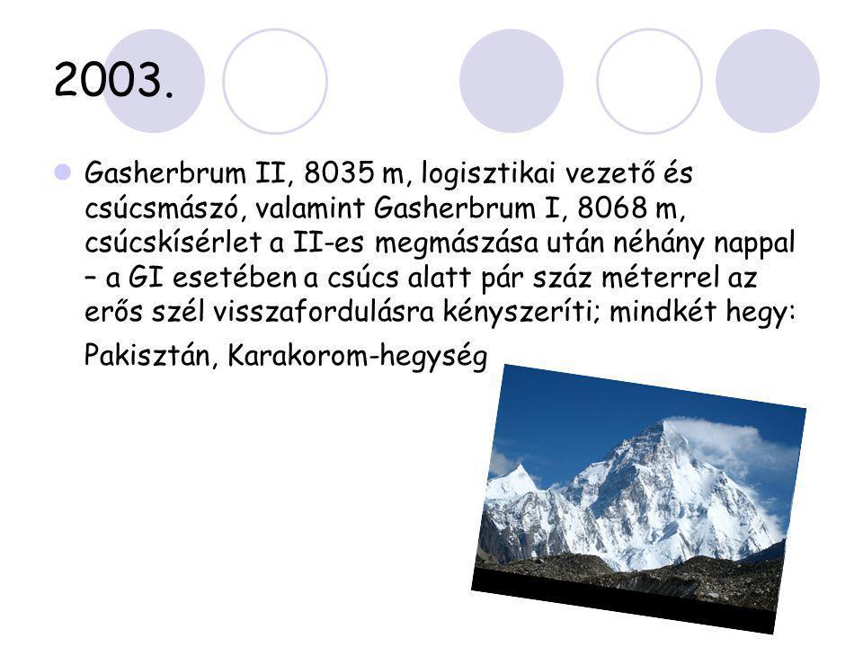2003.  Gasherbrum II, 8035 m, logisztikai vezető és csúcsmászó, valamint Gasherbrum I, 8068 m, csúcskísérlet a II-es megmászása után néhány nappal –