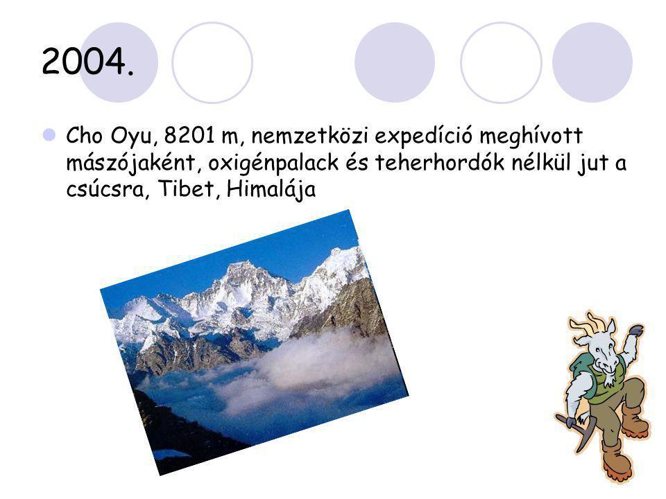 2004.  Cho Oyu, 8201 m, nemzetközi expedíció meghívott mászójaként, oxigénpalack és teherhordók nélkül jut a csúcsra, Tibet, Himalája