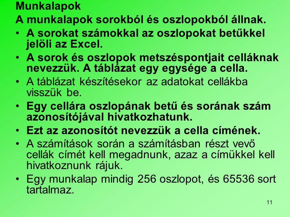 11 Munkalapok A munkalapok sorokból és oszlopokból állnak. •A sorokat számokkal az oszlopokat betűkkel jelöli az Excel. •A sorok és oszlopok metszéspo