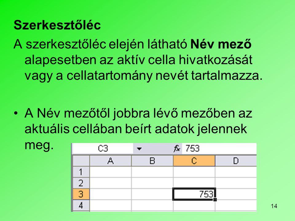 14 Szerkesztőléc A szerkesztőléc elején látható Név mező alapesetben az aktív cella hivatkozását vagy a cellatartomány nevét tartalmazza. •A Név mezőt