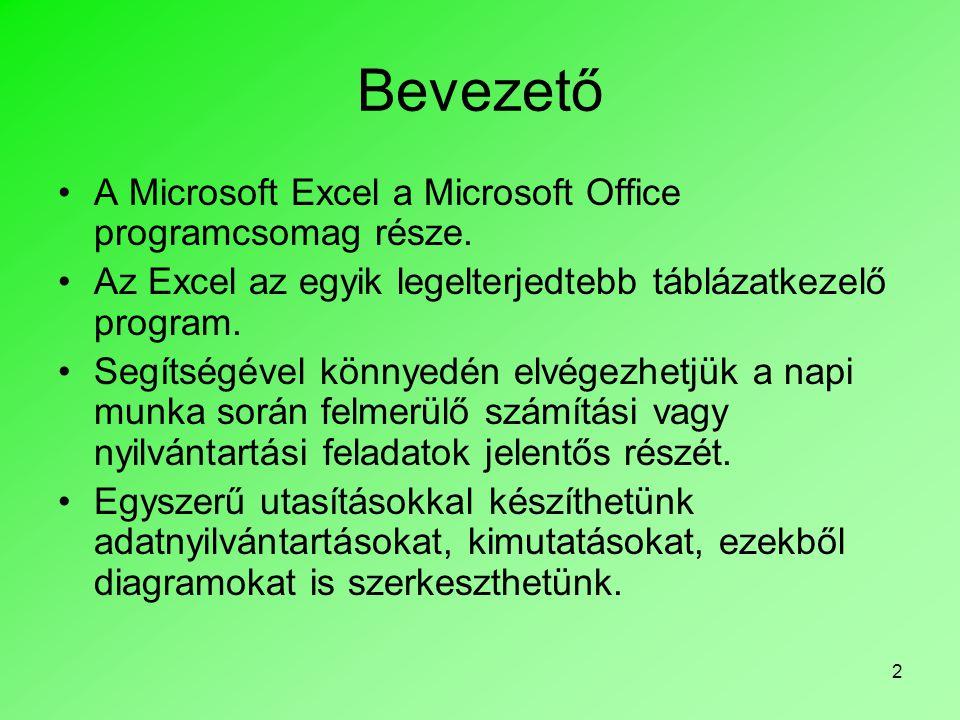 3 A Microsoft Excel program használata A program indítása történhet: •Start menü>Programok>Microsoft Excel •Asztalon található Excel ikonra duplán kattintva