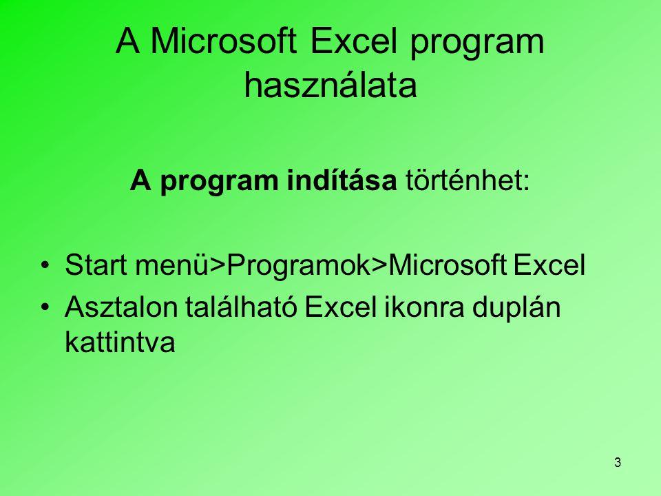 3 A Microsoft Excel program használata A program indítása történhet: •Start menü>Programok>Microsoft Excel •Asztalon található Excel ikonra duplán kat