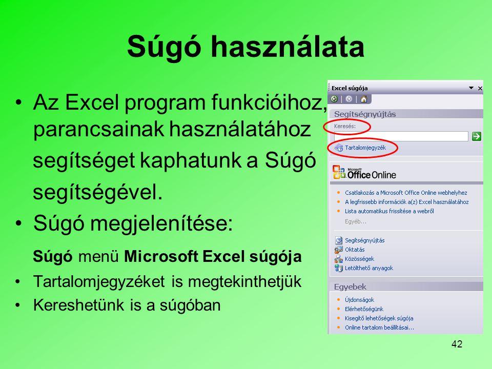 42 Súgó használata •Az Excel program funkcióihoz, parancsainak használatához segítséget kaphatunk a Súgó segítségével. •Súgó megjelenítése: Súgó menü