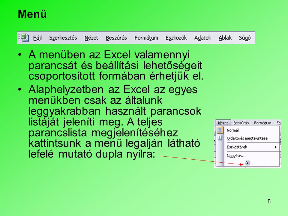46 Az Excel alapjai Adattípusok Az Excelben végzett munkánk során alapvetően kétféle adattípussal dolgozunk: •Szöveges adatok (cellában balra igazítja) •Szám adatok (cellában jobbra igazítja) •A számadatok speciális fajtája a Dátum.