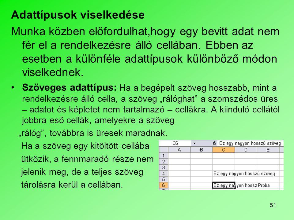 51 Adattípusok viselkedése Munka közben előfordulhat,hogy egy bevitt adat nem fér el a rendelkezésre álló cellában. Ebben az esetben a különféle adatt