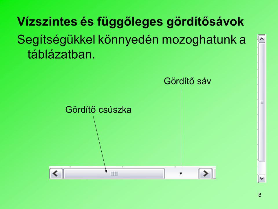 39 Ablak felosztása •Az ablak felosztása funkcióval táblázatunk ablakát kettő vagy négy egymástól függetlenül görgethető részre oszthatjuk.