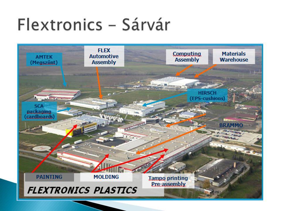 • A cég a telephely előnyeit az alábbiakban foglalja össze: • - A szervíz rendelkezésre áll a gyártás mellett • - Kedvező földrajzi helyzet – Kelet-közép Európa, két órára az osztrák autópályától • - Műanyag fröccsöntés a helyszínen • - Flextronicson belül elérhető a szükséges technológiai tudás • - Képzett erőforrások rendelkezésre állnak • - Az ipari parkon belül rendelkezésre álló szabad terület a termelés és logisztika számára • - Egyenes vonalú anyagmozgatás által költséghatékonyság, és minőségi kockázat minimalizálás, valamint környezetkímélés • - Közvetlen együttműködés más ipari telephelyekkel