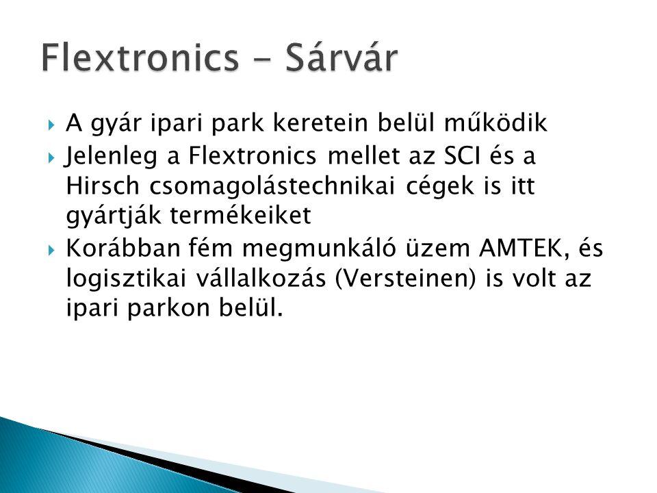  A gyár ipari park keretein belül működik  Jelenleg a Flextronics mellet az SCI és a Hirsch csomagolástechnikai cégek is itt gyártják termékeiket 