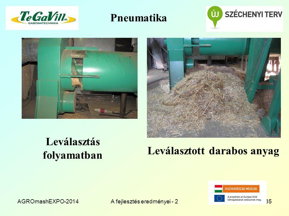 Pneumatika Leválasztás folyamatban AGROmashEXPO-2014A fejlesztés eredményei - 235 Leválasztott darabos anyag