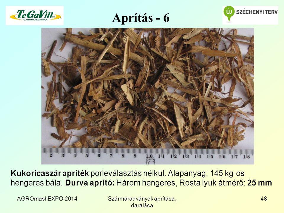Aprítás - 6 Kukoricaszár apríték porleválasztás nélkül.