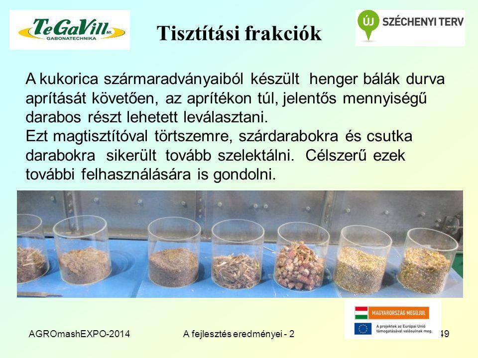 Tisztítási frakciók AGROmashEXPO-2014A fejlesztés eredményei - 249 A kukorica szármaradványaiból készült henger bálák durva aprítását követően, az apr