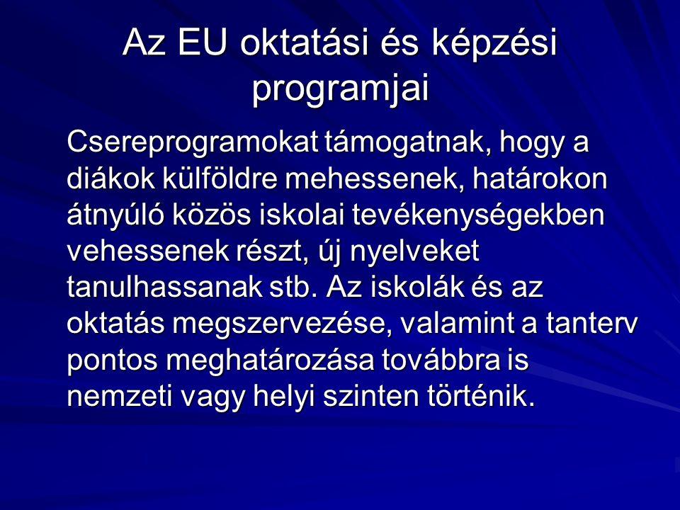 Az EU programjai az élethosszig tartó tanulás terén: a 2007–13-as programidőszak becsült számai Érintett területEU-program neve Célok KözoktatásComeniusAz EU iskolásainak 5%-a részt vehet a közös oktatási tevékenységekben.
