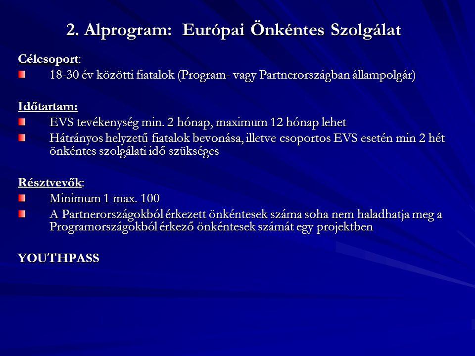 2. Alprogram: Európai Önkéntes Szolgálat Célcsoport: 18-30 év közötti fiatalok (Program- vagy Partnerországban állampolgár) Időtartam: EVS tevékenység