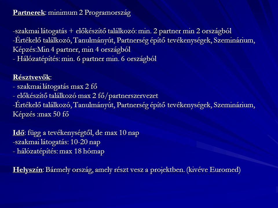 Partnerek: minimum 2 Programország -szakmai látogatás + előkészítő találkozó: min.