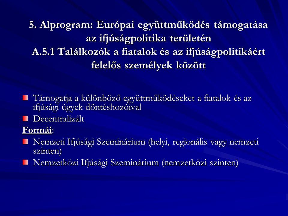 5. Alprogram: Európai együttműködés támogatása az ifjúságpolitika területén A.5.1 Találkozók a fiatalok és az ifjúságpolitikáért felelős személyek köz