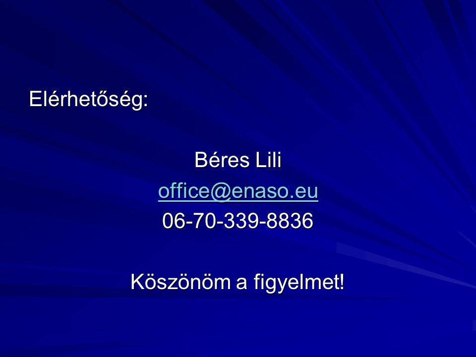 Elérhetőség: Béres Lili office@enaso.eu 06-70-339-8836 Köszönöm a figyelmet!
