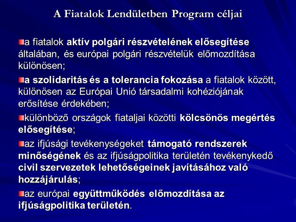 Fiatalok Lendületben Program Prioritásai 1.Európai polgárság 2.