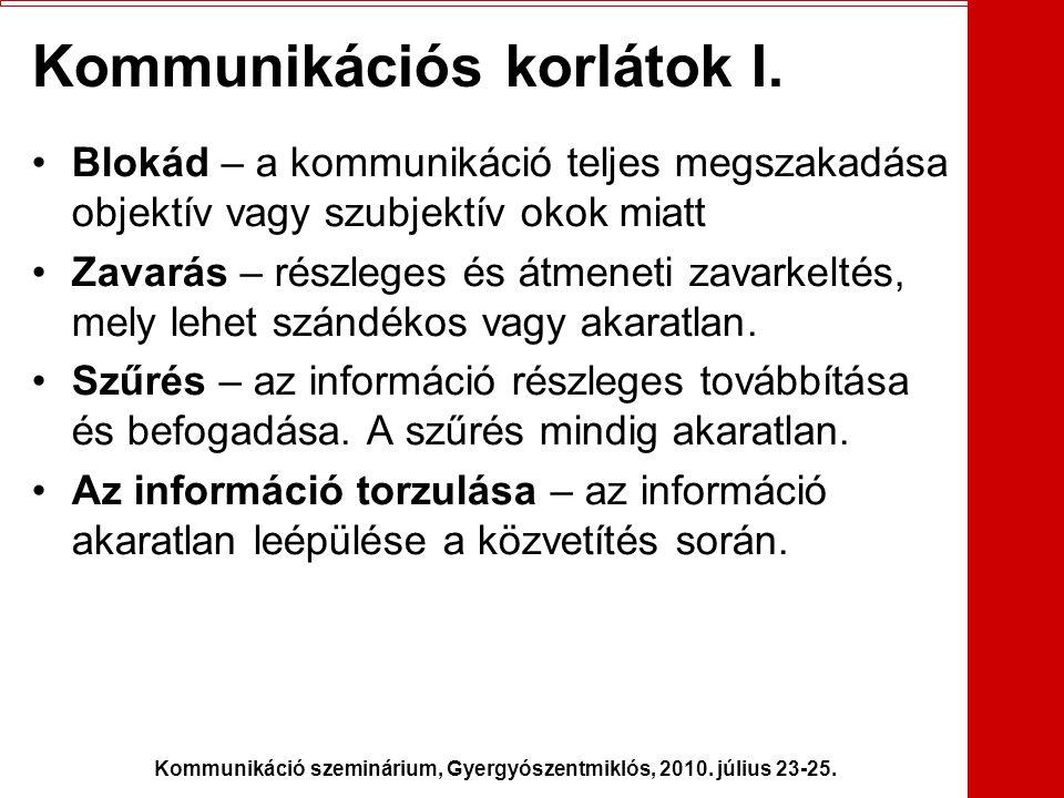 Kommunikáció szeminárium, Gyergyószentmiklós, 2010. július 23-25. Kommunikációs korlátok I. •Blokád – a kommunikáció teljes megszakadása objektív vagy