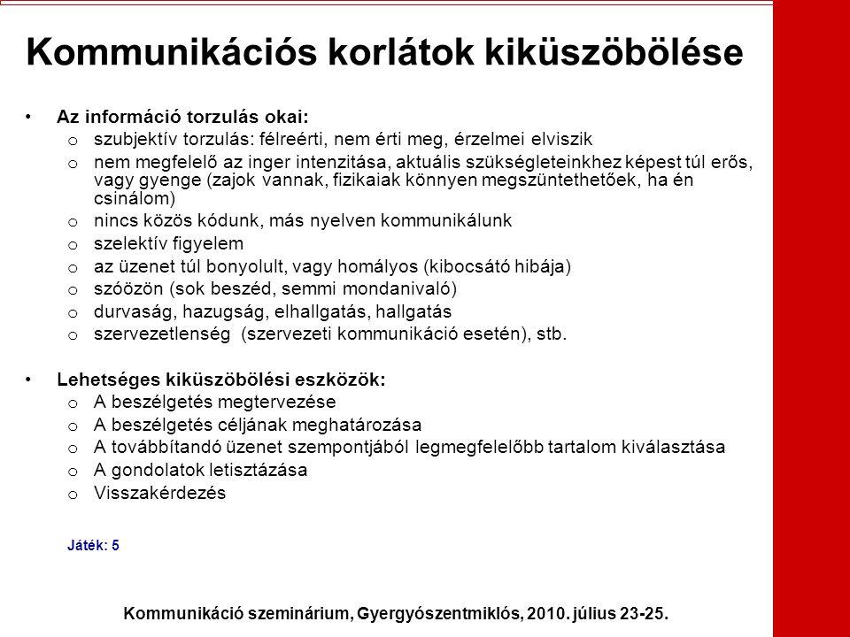 Kommunikáció szeminárium, Gyergyószentmiklós, 2010. július 23-25. Kommunikációs korlátok kiküszöbölése •Az információ torzulás okai: o szubjektív torz