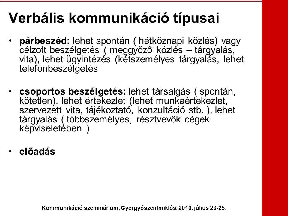 Kommunikáció szeminárium, Gyergyószentmiklós, 2010. július 23-25. Verbális kommunikáció típusai •párbeszéd: lehet spontán ( hétköznapi közlés) vagy cé