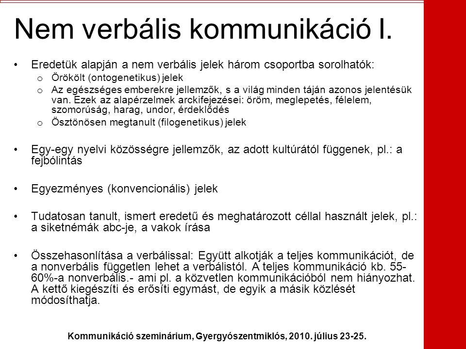 Kommunikáció szeminárium, Gyergyószentmiklós, 2010. július 23-25. Nem verbális kommunikáció I. •Eredetük alapján a nem verbális jelek három csoportba