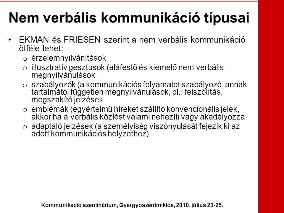 Kommunikáció szeminárium, Gyergyószentmiklós, 2010. július 23-25. Nem verbális kommunikáció típusai •EKMAN és FRIESEN szerint a nem verbális kommuniká