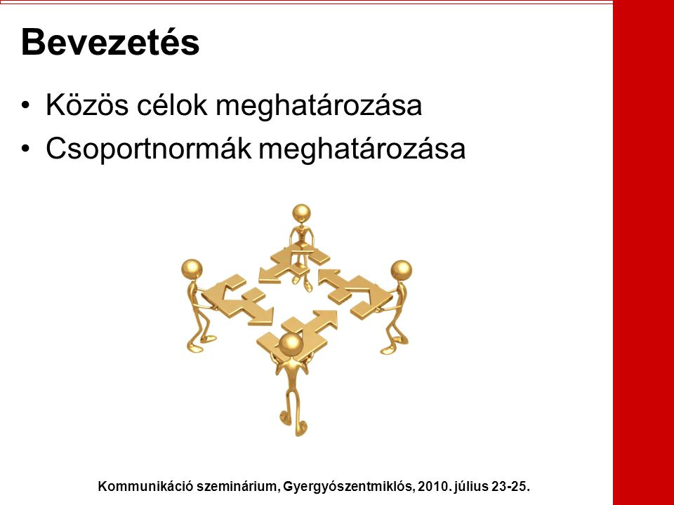 Kommunikáció szeminárium, Gyergyószentmiklós, 2010. július 23-25. Bevezetés •Közös célok meghatározása •Csoportnormák meghatározása