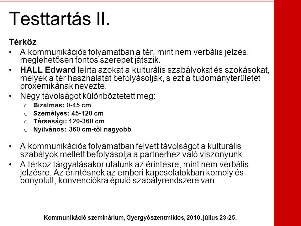 Kommunikáció szeminárium, Gyergyószentmiklós, 2010. július 23-25. Testtartás II. Térköz •A kommunikációs folyamatban a tér, mint nem verbális jelzés,