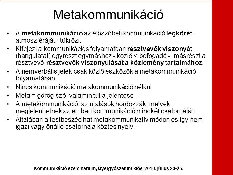 Kommunikáció szeminárium, Gyergyószentmiklós, 2010. július 23-25. Metakommunikáció •A metakommunikáció az élőszóbeli kommunikáció légkörét - atmoszfér