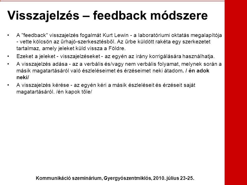 Kommunikáció szeminárium, Gyergyószentmiklós, 2010. július 23-25. Visszajelzés – feedback módszere •A
