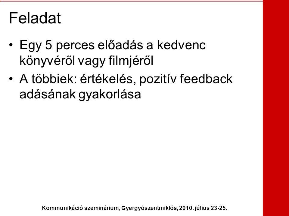Kommunikáció szeminárium, Gyergyószentmiklós, 2010. július 23-25. Feladat •Egy 5 perces előadás a kedvenc könyvéről vagy filmjéről •A többiek: értékel