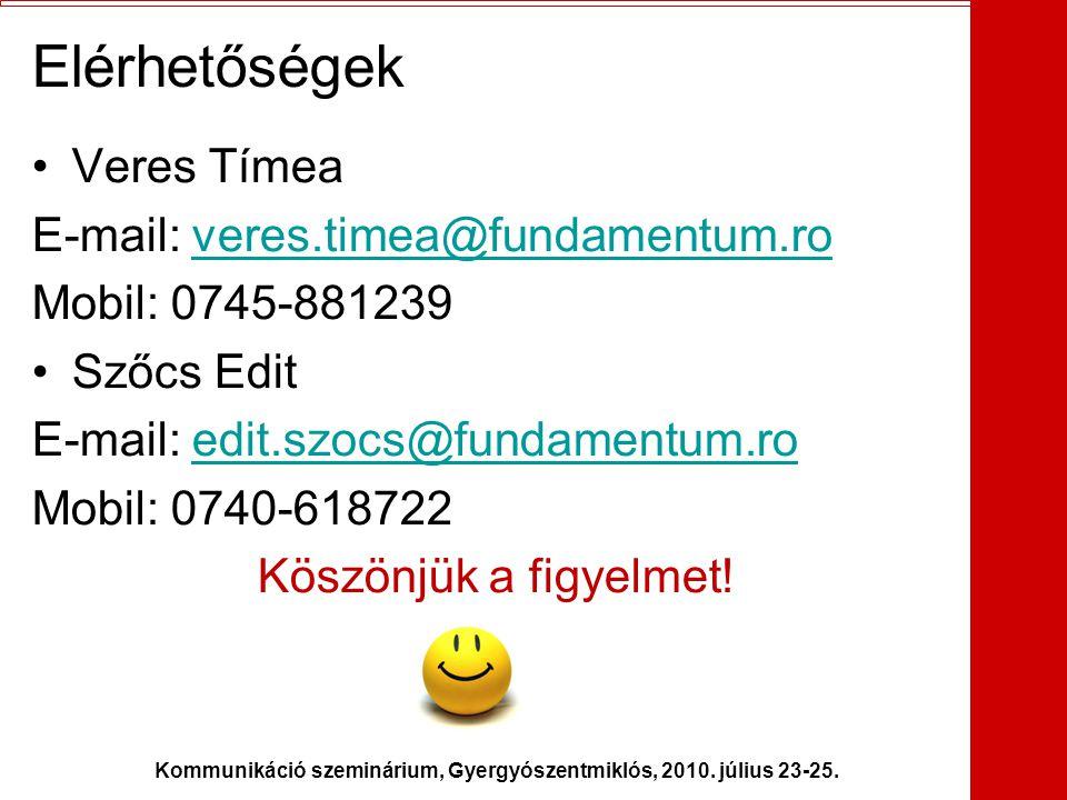 Kommunikáció szeminárium, Gyergyószentmiklós, 2010. július 23-25. Elérhetőségek •Veres Tímea E-mail: veres.timea@fundamentum.roveres.timea@fundamentum