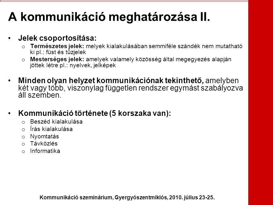 Kommunikáció szeminárium, Gyergyószentmiklós, 2010. július 23-25. A kommunikáció meghatározása II. •Jelek csoportosítása: o Természetes jelek: melyek