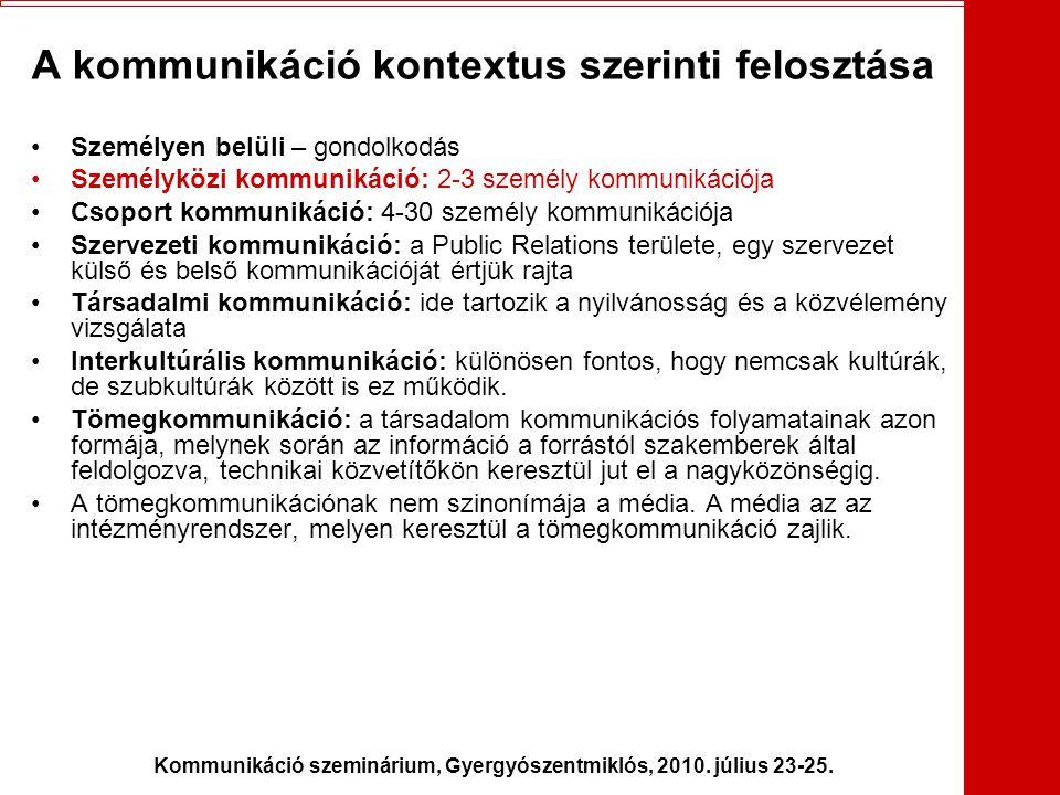 Kommunikáció szeminárium, Gyergyószentmiklós, 2010. július 23-25. A kommunikáció kontextus szerinti felosztása •Személyen belüli – gondolkodás •Személ