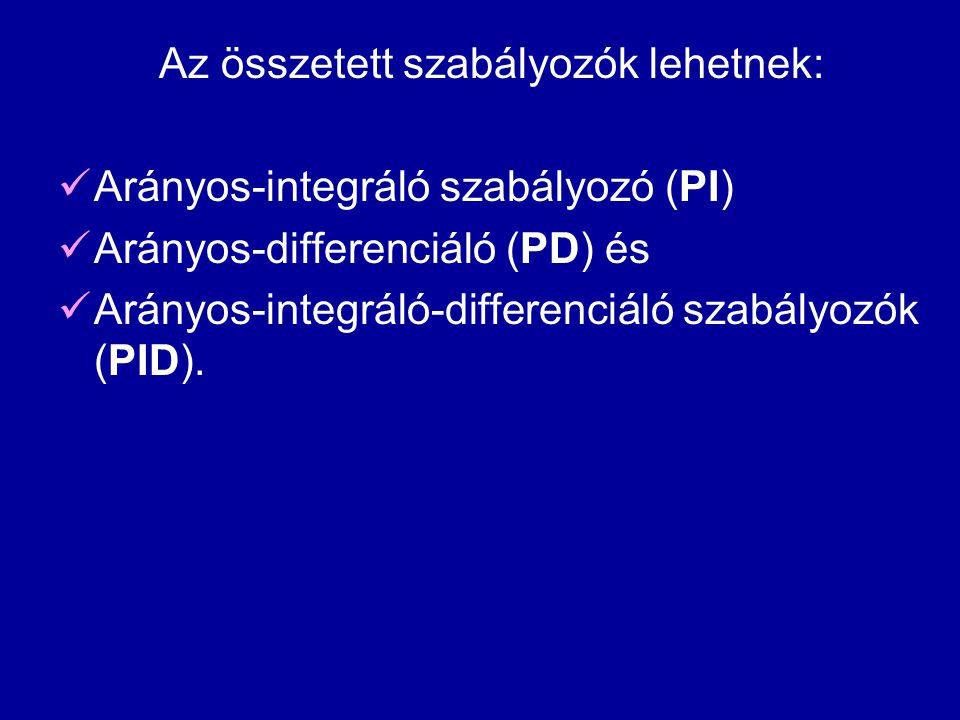 Az összetett szabályozók lehetnek:  Arányos-integráló szabályozó (PI)  Arányos-differenciáló (PD) és  Arányos-integráló-differenciáló szabályozók (