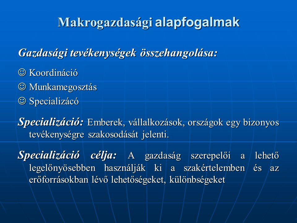 Makrogazdasági alapfogalmak Gazdasági tevékenységek összehangolása:  Koordináció  Munkamegosztás  Specializácó Specializáció: Emberek, vállalkozáso