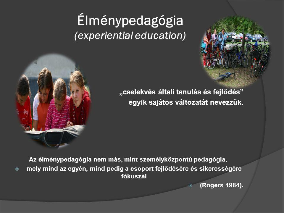 """Élménypedagógia (experiential education)  """"cselekvés általi tanulás és fejlődés"""" egyik sajátos változatát nevezzük. Az élménypedagógia nem más, mint"""