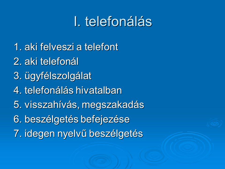 I. telefonálás 1. aki felveszi a telefont 2. aki telefonál 3. ügyfélszolgálat 4. telefonálás hivatalban 5. visszahívás, megszakadás 6. beszélgetés bef