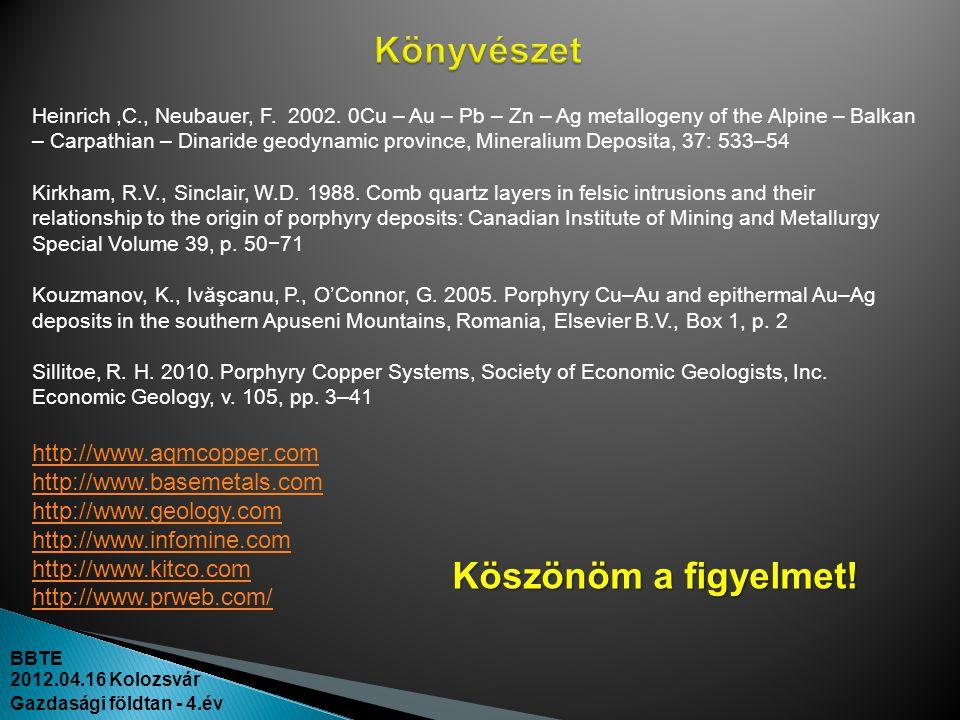 BBTE 2012.04.16 Kolozsvár Gazdasági földtan - 4.év Heinrich,C., Neubauer, F. 2002. 0Cu – Au – Pb – Zn – Ag metallogeny of the Alpine – Balkan – Carpat