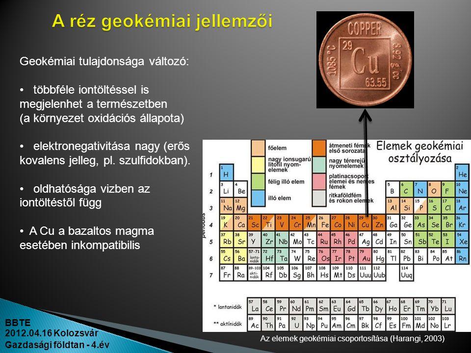 BBTE 2012.04.16 Kolozsvár Gazdasági földtan - 4.év Az elemek geokémiai csoportosítása (Harangi, 2003) Geokémiai tulajdonsága változó: • többféle iontö