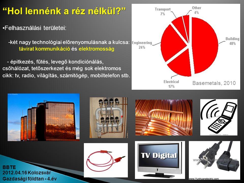 BBTE 2012.04.16 Kolozsvár Gazdasági földtan - 4.év •Felhasználási területei: -két nagy technológiai előrenyomulásnak a kulcsa: távirat kommunikáció és