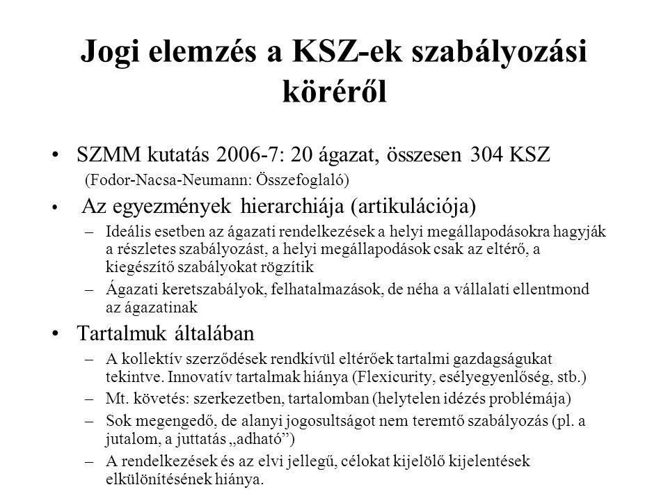 Jogi elemzés a KSZ-ek szabályozási köréről •SZMM kutatás 2006-7: 20 ágazat, összesen 304 KSZ (Fodor-Nacsa-Neumann: Összefoglaló) • Az egyezmények hierarchiája (artikulációja) –Ideális esetben az ágazati rendelkezések a helyi megállapodásokra hagyják a részletes szabályozást, a helyi megállapodások csak az eltérő, a kiegészítő szabályokat rögzítik –Ágazati keretszabályok, felhatalmazások, de néha a vállalati ellentmond az ágazatinak •Tartalmuk általában –A kollektív szerződések rendkívül eltérőek tartalmi gazdagságukat tekintve.