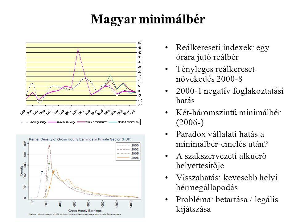 Magyar minimálbér •Reálkereseti indexek: egy órára jutó reálbér •Tényleges reálkereset növekedés 2000-8 •2000-1 negatív foglakoztatási hatás •Két-háromszintű minimálbér (2006-) •Paradox vállalati hatás a minimálbér-emelés után.