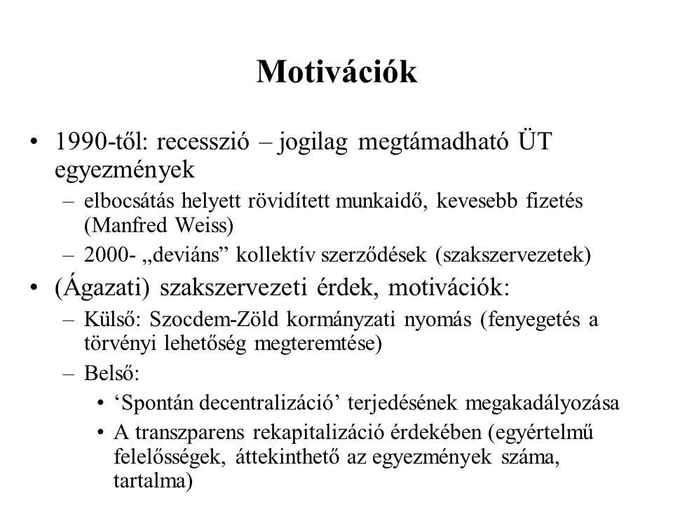 """Motivációk •1990-től: recesszió – jogilag megtámadható ÜT egyezmények –elbocsátás helyett rövidített munkaidő, kevesebb fizetés (Manfred Weiss) –2000- """"deviáns kollektív szerződések (szakszervezetek) •(Ágazati) szakszervezeti érdek, motivációk: –Külső: Szocdem-Zöld kormányzati nyomás (fenyegetés a törvényi lehetőség megteremtése) –Belső: •'Spontán decentralizáció' terjedésének megakadályozása •A transzparens rekapitalizáció érdekében (egyértelmű felelősségek, áttekinthető az egyezmények száma, tartalma)"""