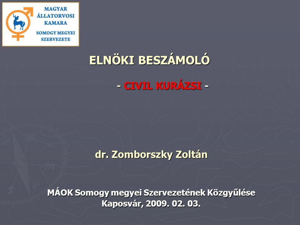 ELNÖKI BESZÁMOLÓ - CIVIL KURÁZSI - dr. Zomborszky Zoltán MÁOK Somogy megyei Szervezetének Közgyűlése Kaposvár, 2009. 02. 03.
