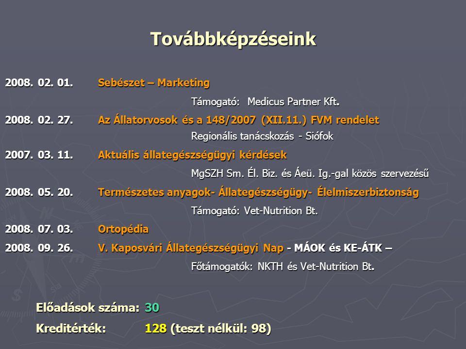 Továbbképzéseink 2008. 02. 01.Sebészet – Marketing Támogató: Medicus Partner Kft. 2008. 02. 27.Az Állatorvosok és a 148/2007 (XII.11.) FVM rendelet Re