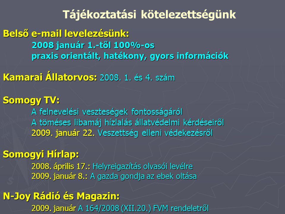 Belső e-mail levelezésünk: 2008 január 1.-től 100%-os praxis orientált, hatékony, gyors információk Kamarai Állatorvos: 2008. 1. és 4. szám Somogy TV: