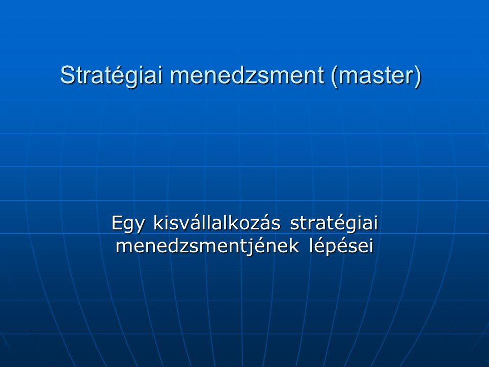 Stratégiai menedzsment (master) Egy kisvállalkozás stratégiai menedzsmentjének lépései