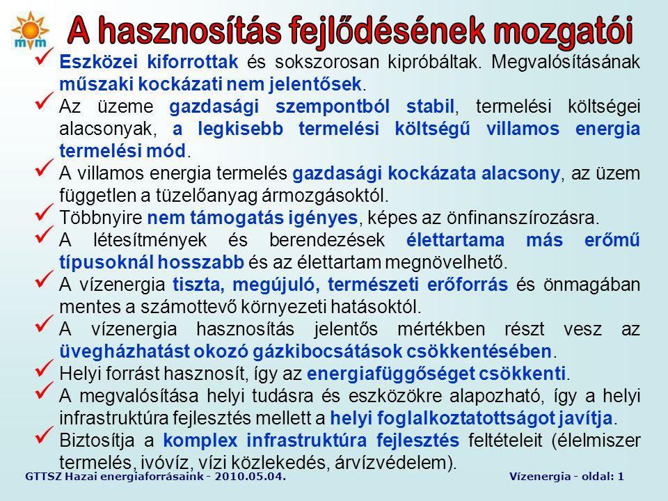 GTTSZ Hazai energiaforrásaink - 2010.05.04.Vízenergia - oldal: 1  Eszközei kiforrottak és sokszorosan kipróbáltak. Megvalósításának műszaki kockázati